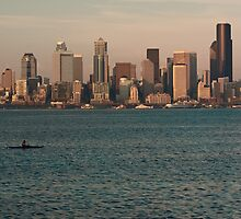 Seattle Skyline at Sunset with Kayaker by Stacey Lynn Payne