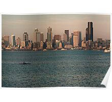 Seattle Skyline at Sunset with Kayaker Poster