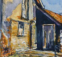 Rural farm, Tuscany. Watercolour. Framed. 32x23cm by Elizabeth Moore Golding