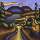 Glossscape with musician by lake by Alan Kenny