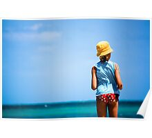 Beach Girl in Yellow Hat Poster