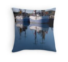 Fishing boats in blue Throw Pillow