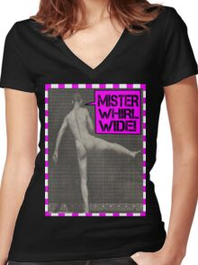 Mister Whirl-Wide  Women's Fitted V-Neck T-Shirt