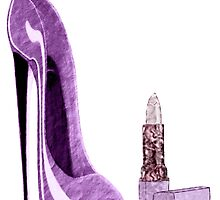Lilac Stiletto Shoe and Lipstick Art by ckeenart