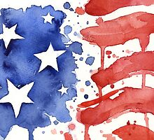 American Flag Painting Watercolor  by OlechkaDesign
