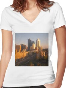 Spring Street drenched with sunshine, Melb, Vic, Australia Women's Fitted V-Neck T-Shirt