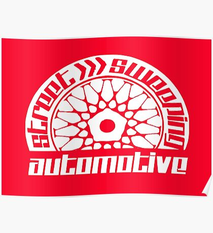 Street Sweeping Automotive Logo red Poster
