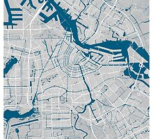 Amsterdam city map grey colour by mmapprints