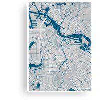 Amsterdam city map grey colour Canvas Print