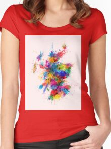 Scotland Paint Splashes Map Women's Fitted Scoop T-Shirt