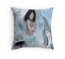 maid blue  Throw Pillow