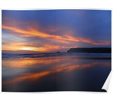 Cornwall: Fire in the Sky Over Polzeath Poster