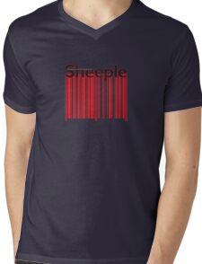 Sheeple Red Bar Mens V-Neck T-Shirt