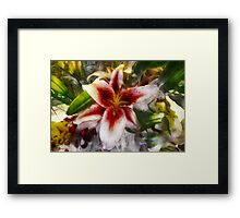 Pearly Petals, Satin Leaves Framed Print