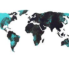 Blue world map watercolor painting by Joanna Szmerdt