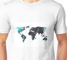 Blue world map watercolor painting Unisex T-Shirt