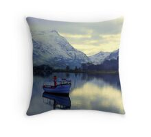 Lone Boat -Snowdonia Throw Pillow