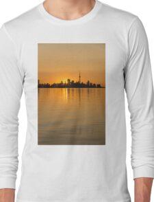 Brilliant Golden Yellow Toronto Skyline Long Sleeve T-Shirt