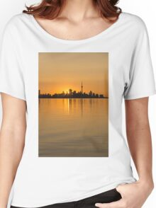 Brilliant Golden Yellow Toronto Skyline Women's Relaxed Fit T-Shirt