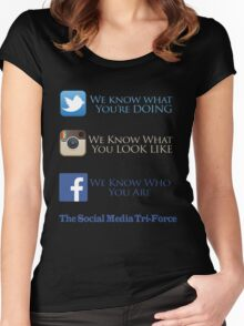 The Social Media Tri-Force Women's Fitted Scoop T-Shirt