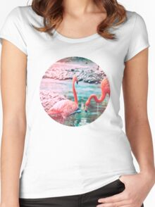 Exotic flamingos Women's Fitted Scoop T-Shirt