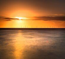 Atomic sunset, Crosby beach by Ian Moran