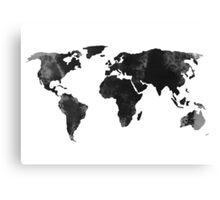 Black world map silhouette Canvas Print