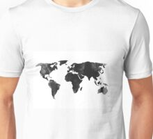 Black world map silhouette Unisex T-Shirt