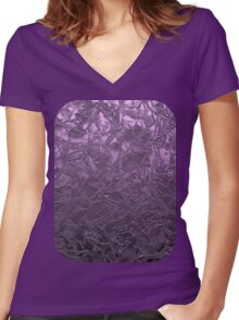 Metal Grunge Relief Floral Abstract Women's Fitted V-Neck T-Shirt