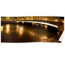 Little night panoramic of a stone bridge Poster