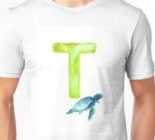 Sea turtle watercolor alphabet poster Unisex T-Shirt