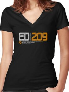ED 209 Women's Fitted V-Neck T-Shirt