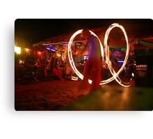 Beach and Bar- Fire twirling in Thailand Canvas Print