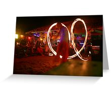 Beach and Bar- Fire twirling in Thailand Greeting Card