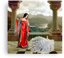 Red Lady and White Peacock Canvas Print