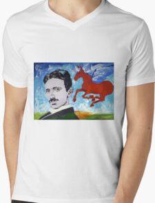 Tesla Knows Mens V-Neck T-Shirt