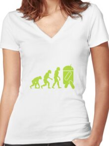 Android Evolution Women's Fitted V-Neck T-Shirt