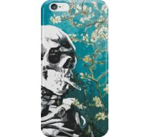 Skull with burning cigarette on cherry blossom iPhone Case/Skin