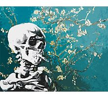 Skull with burning cigarette on cherry blossom Photographic Print