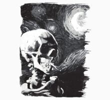 Skull with burning cigarette on a Starry Night BW Kids Clothes