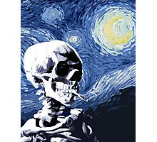 Skull with burning cigarette on a Starry Night Photographic Print
