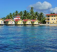 Caribbean resort with cabins over water by Dam - www.seaphotoart.com