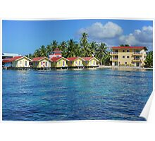 Caribbean resort with cabins over water Poster