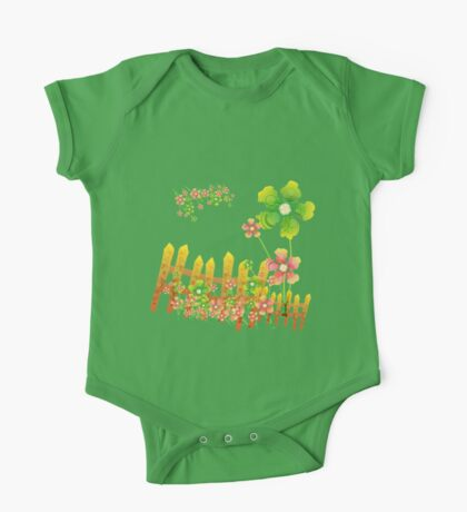 Green and peachy flowers garden One Piece - Short Sleeve