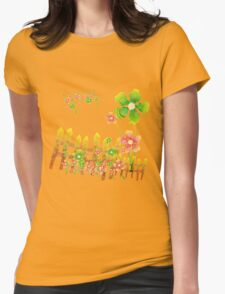 Green and peachy flowers garden Womens Fitted T-Shirt