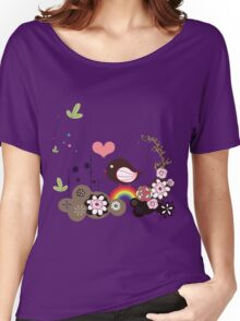 Beautiful bird and rainbow Women's Relaxed Fit T-Shirt