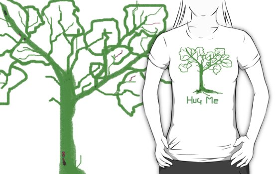 HUG ME   TREES Leaves Green T SHIRT by Shoshonan
