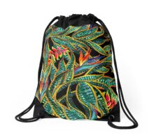 dark cactus party Drawstring Bag