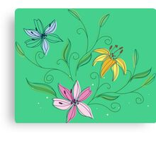 Watercolor colorful orchid Canvas Print