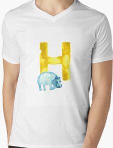 Hippo watercolor alphabet drawing Mens V-Neck T-Shirt